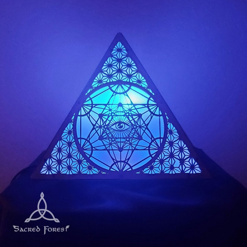 Sacred geometry Metatron lamp with Chromotherapy bulb